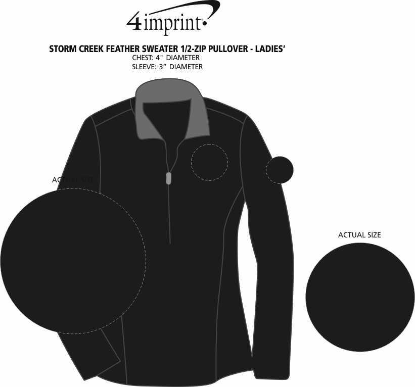 Imprint Area of Storm Creek Feather Sweater 1/2-Zip Pullover - Ladies'