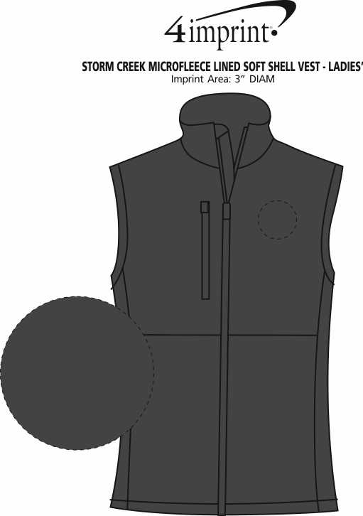 Imprint Area of Storm Creek Microfleece Lined Soft Shell Vest - Ladies'