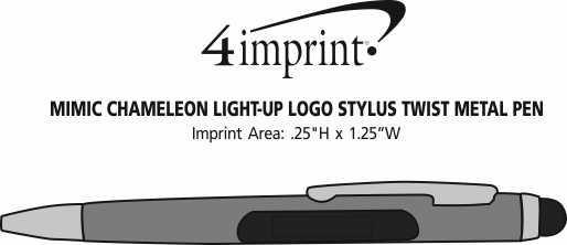 Imprint Area of Mimic Chameleon Light-Up Logo Stylus Twist Metal Pen