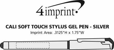 Imprint Area of Cali Soft Touch Stylus Gel Pen - Silver