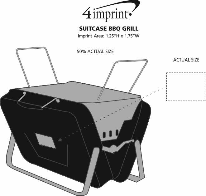 Imprint Area of Suitcase BBQ Grill