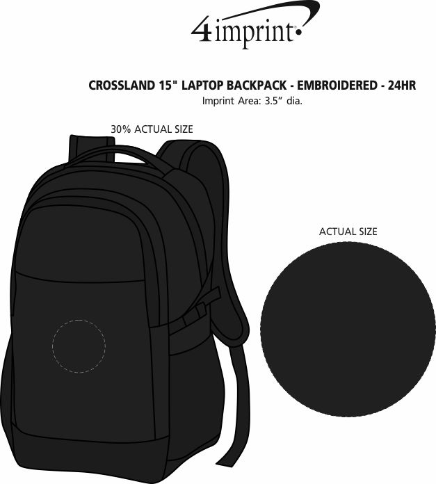 "Imprint Area of Crossland 15"" Laptop Backpack - Embroidered - 24 hr"