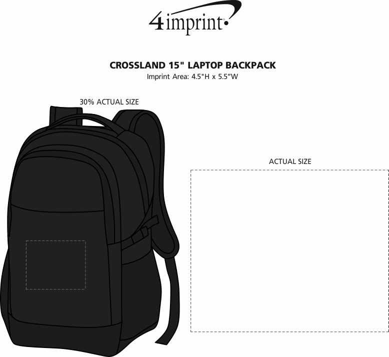 "Imprint Area of Crossland 15"" Laptop Backpack"