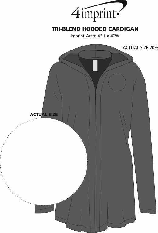 Imprint Area of Tri-Blend Hooded Cardigan