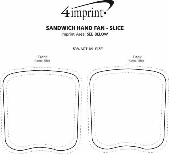 Imprint Area of Sandwich Hand Fan - Slice