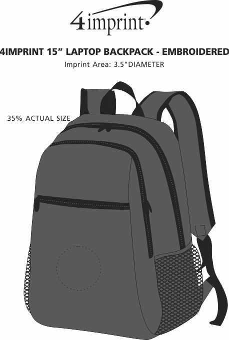 """Imprint Area of 4imprint 15"""" Laptop Backpack - Embroidered"""