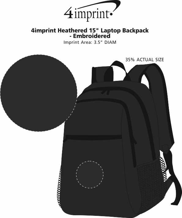 "Imprint Area of 4imprint Heathered 15"" Laptop Backpack - Embroidered"