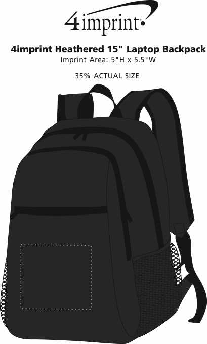 """Imprint Area of 4imprint Heathered 15"""" Laptop Backpack"""