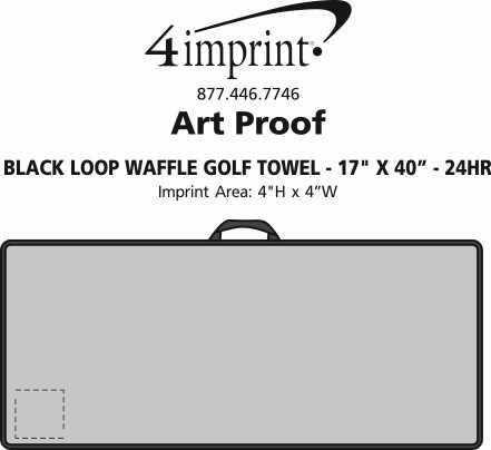 "Imprint Area of Black Loop Waffle Golf Towel - 17"" x 40"" - 24 hr"