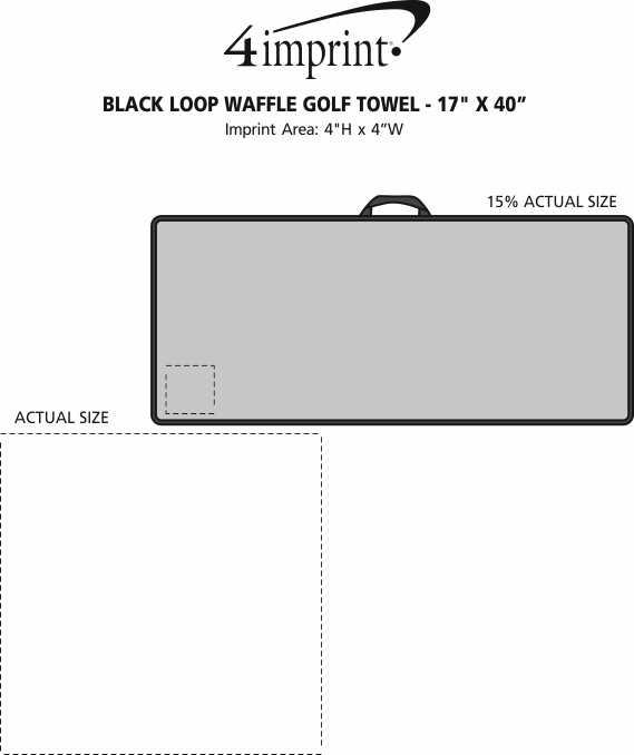 "Imprint Area of Black Loop Waffle Golf Towel - 17"" x 40"""