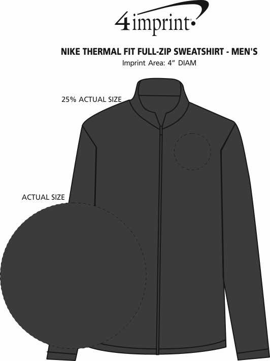 Imprint Area of Nike Thermal Fit Full-Zip Sweatshirt - Men's