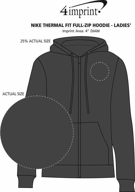 Imprint Area of Nike Thermal Fit Full-Zip Hoodie - Ladies'
