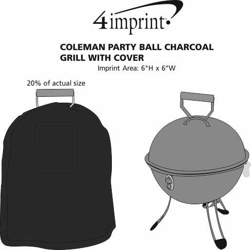 Imprint Area of Coleman Party Ball Charcoal Grill with Cover