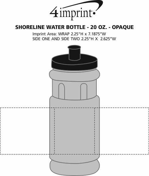 Imprint Area of Shoreline Water Bottle - 20 oz. - Opaque