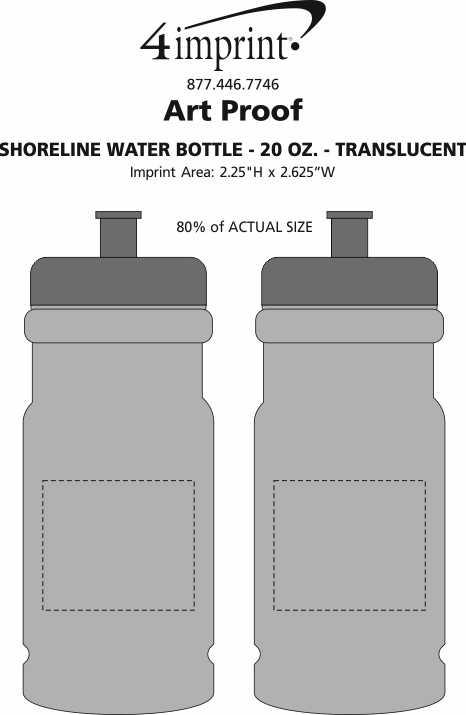 Imprint Area of Shoreline Water Bottle - 20 oz. - Translucent