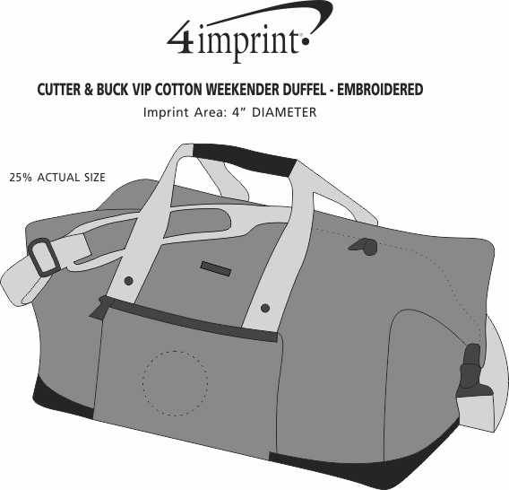 Imprint Area of Cutter & Buck VIP Cotton Weekender Duffel - Embroidered
