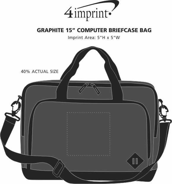 "Imprint Area of Graphite 15"" Computer Briefcase Bag"