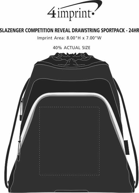 Imprint Area of Slazenger Competition Reveal Drawstring Sportpack - 24 hr