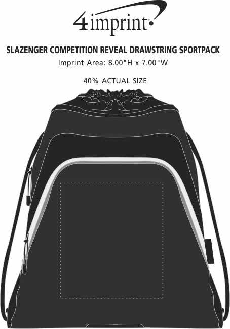 Imprint Area of Slazenger Competition Reveal Drawstring Sportpack