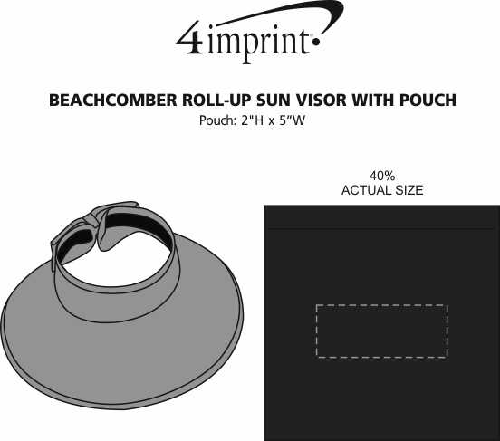 Imprint Area of Beachcomber Roll-Up Sun Visor with Pouch