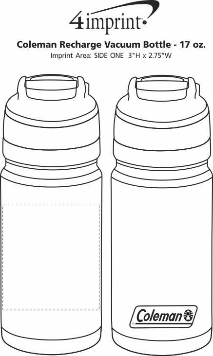 Imprint Area of Coleman Recharge Vacuum Bottle - 17 oz.