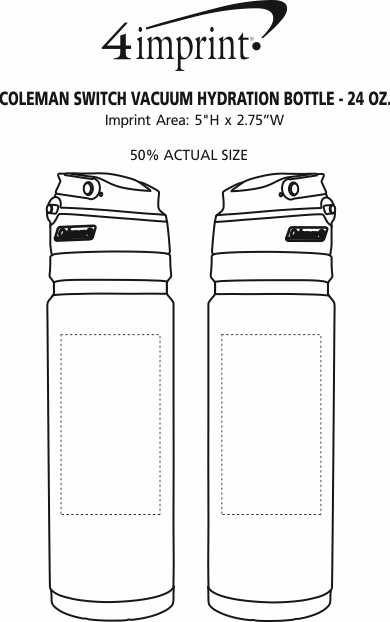 Imprint Area of Coleman Switch Vacuum Hydration Bottle - 24 oz.
