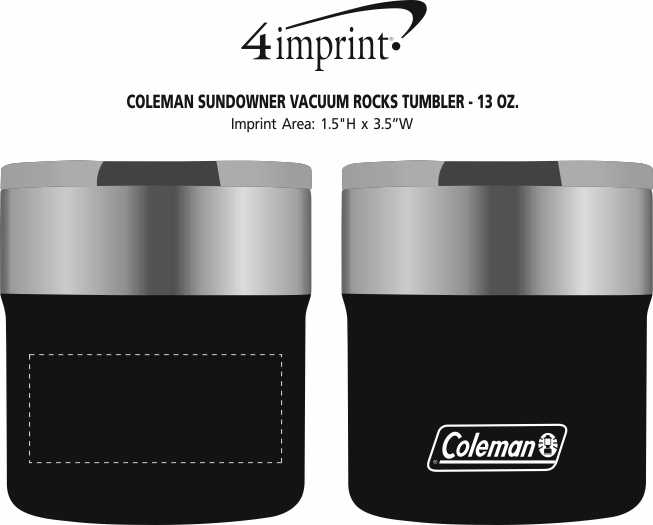 Imprint Area of Coleman Sundowner Vacuum Rocks Tumbler - 13 oz.