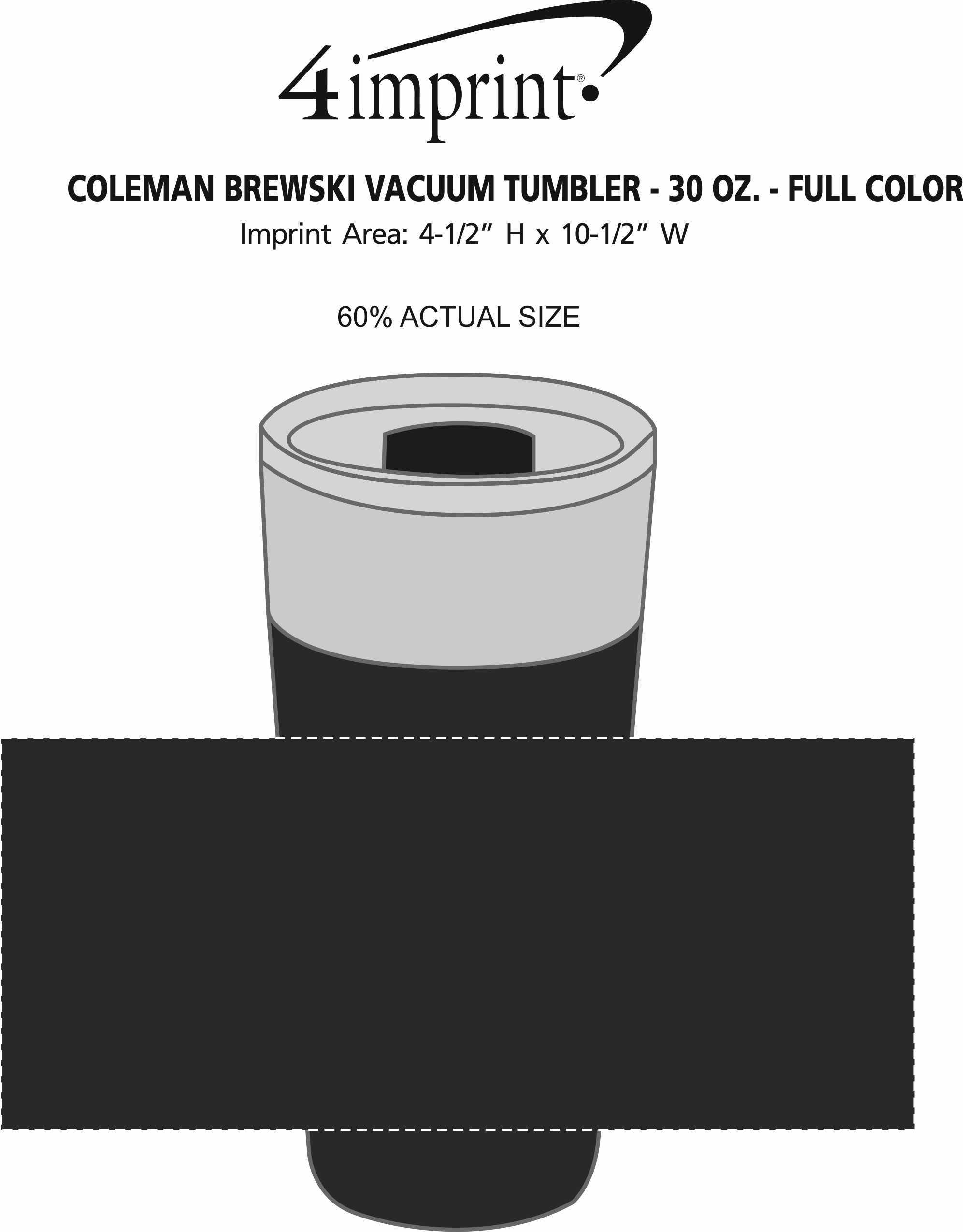 Imprint Area of Coleman Brewski Vacuum Tumbler - 30 oz. - Full Color