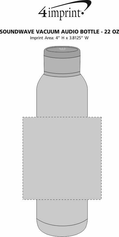 Imprint Area of Soundwave Vacuum Audio Bottle - 22 oz.