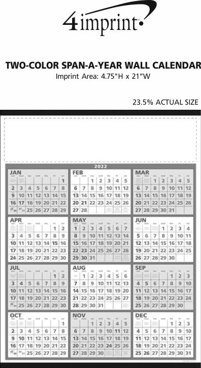 Imprint Area of Two-Color Span-A-Year Wall Calendar