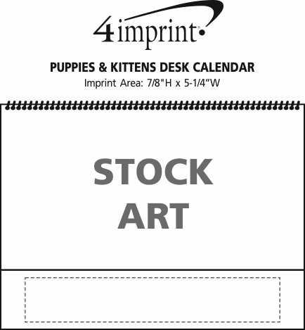 Imprint Area of Puppies & Kittens Desk Calendar