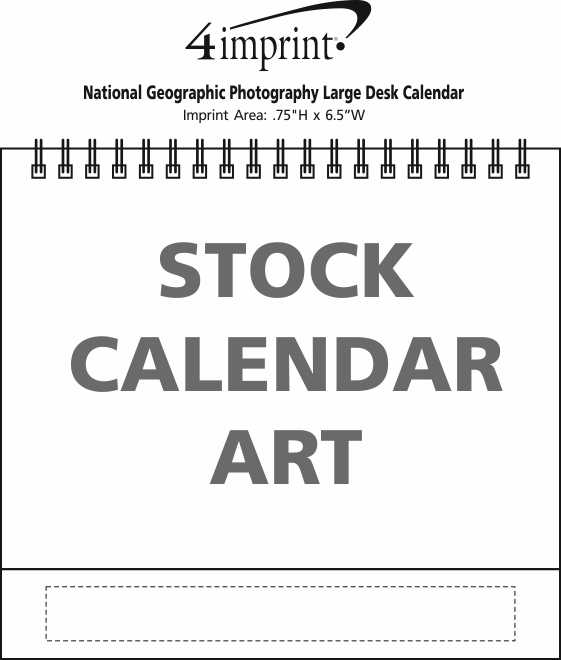 Imprint Area of National Geographic Photography Large Desk Calendar