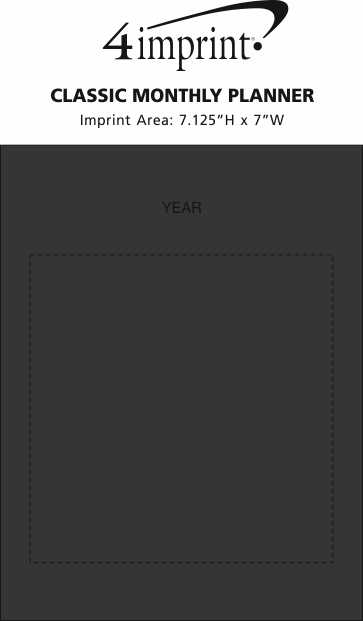 Imprint Area of Classic Monthly Planner