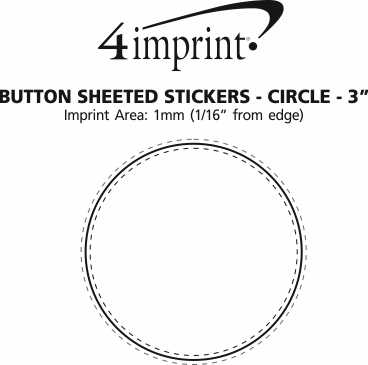 """Imprint Area of Button Sheeted Stickers - Circle - 3"""""""