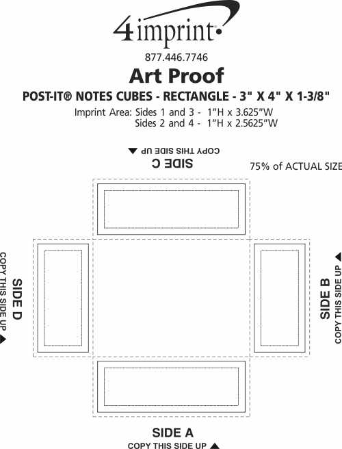 """Imprint Area of Post-it® Notes Cubes - Rectangle - 3"""" x 4"""" x 1-3/8"""""""