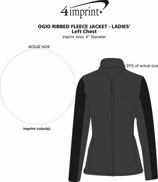 Imprint Area of OGIO Ribbed Fleece Jacket - Ladies'