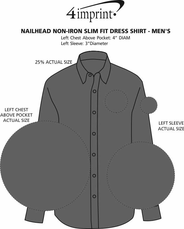 Imprint Area of Nailhead Non-Iron Slim Fit Dress Shirt - Men's
