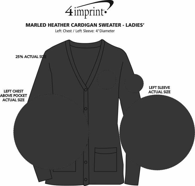 Imprint Area of Marled Heather Cardigan Sweater - Ladies'