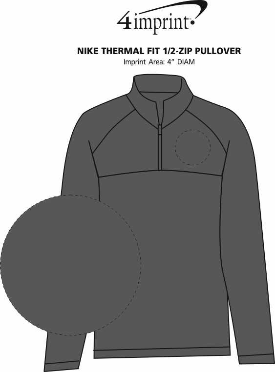 Imprint Area of Nike Thermal Fit 1/2-Zip Pullover
