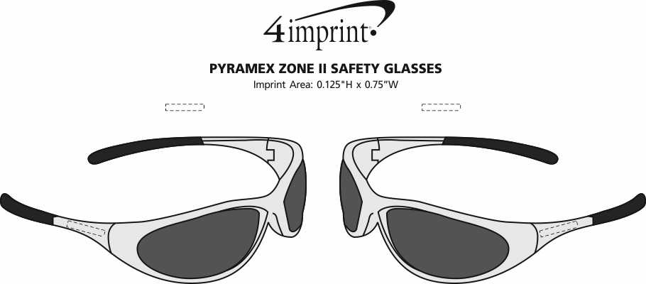 Imprint Area of Pyramex Zone II Safety Glasses