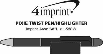 Imprint Area of Pixie Twist Pen/Highlighter
