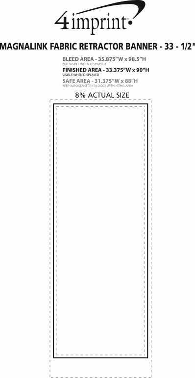 """Imprint Area of MagnaLink Fabric Retractor Banner - 33-1/2"""""""
