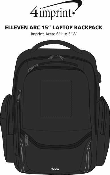 """Imprint Area of elleven Arc 15"""" Laptop Backpack"""