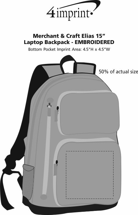 "Imprint Area of Merchant & Craft Elias 15"" Laptop Backpack - Embroidered"