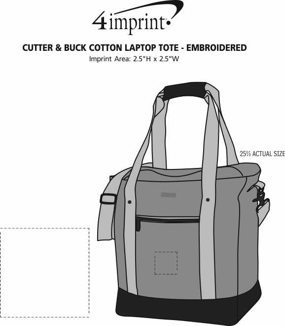 Imprint Area of Cutter & Buck Cotton Laptop Tote - Embroidered
