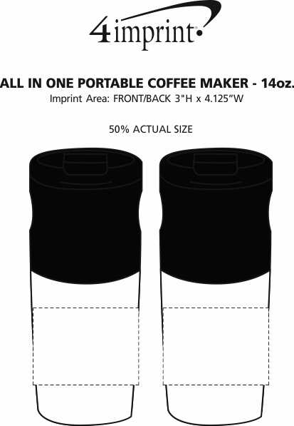 Imprint Area of All in One Portable Electric Coffee Maker - 14 oz.