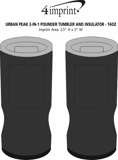 Imprint Area of Urban Peak 2-in-1 Pounder Tumbler and Insulator - 16 oz.