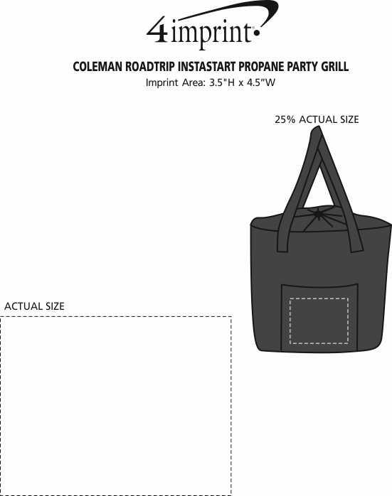 Imprint Area of Coleman Roadtrip Instastart Propane Party Grill