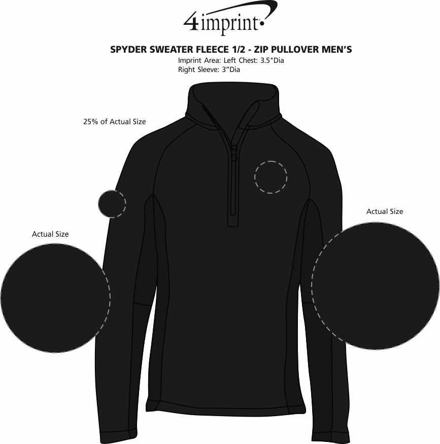 Imprint Area of Spyder Sweater Fleece 1/2-Zip Pullover - Men's