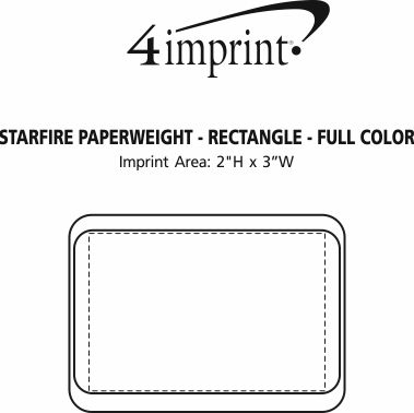 Imprint Area of Starfire Paperweight - Rectangle - Full Color